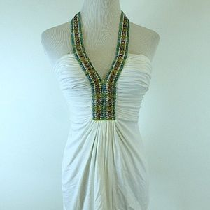 SKY BRAND IVORY TURQUOISE BEADED HALTER PART top S